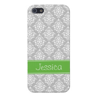 Preppy Green and Gray Damask Personalized iPhone 5 Cover