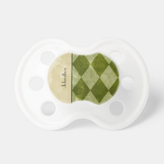 Preppy Green Argyle Classic Masculine Geometric Pacifier