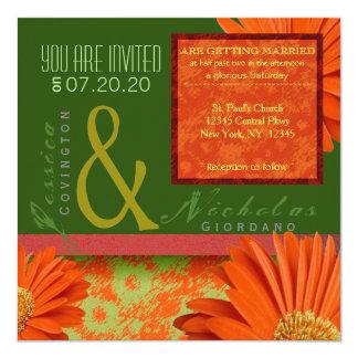 Preppy Green Orange Gerbera Floral Wedding Invites