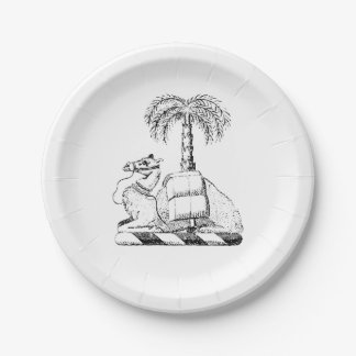 Preppy Heraldic Camel Palm Tree Coat of Arms 7 Inch Paper Plate