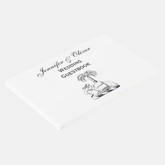 Preppy Heraldic Camel Palm Tree Coat of Arms Guest Book