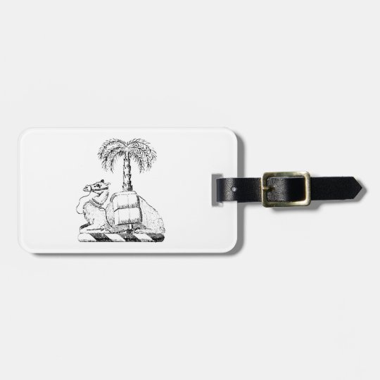 Preppy Heraldic Camel Palm Tree Coat of Arms Luggage Tag