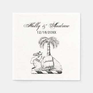 Preppy Heraldic Camel Palm Tree Coat of Arms Paper Napkin