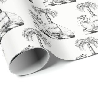 Preppy Heraldic Camel Palm Tree Coat of Arms Wrapping Paper