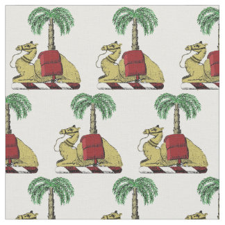 Preppy Heraldic Camel Palm Tree Color Coat of Arms Fabric