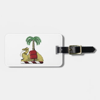 Preppy Heraldic Camel Palm Tree Color Coat of Arms Luggage Tag