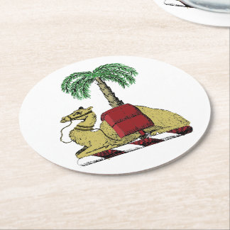 Preppy Heraldic Camel Palm Tree Color Coat of Arms Round Paper Coaster