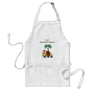 Preppy Heraldic Camel Palm Tree Color Coat of Arms Standard Apron