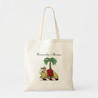 Preppy Heraldic Camel Palm Tree Color Coat of Arms Tote Bag