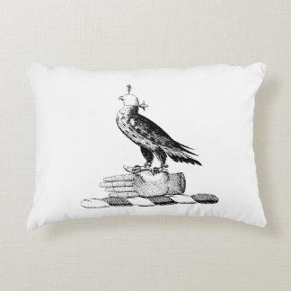 Preppy Heraldic Falcon w Helmet Coat of Arms Crest Accent Pillow
