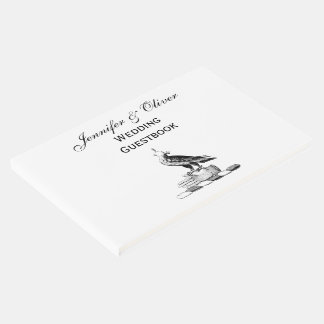 Preppy Heraldic Falcon w Helmet Coat of Arms Crest Guest Book