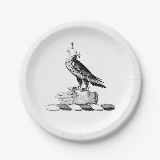 Preppy Heraldic Falcon w Helmet Coat of Arms Crest Paper Plate