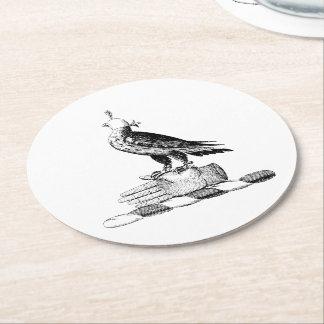 Preppy Heraldic Falcon w Helmet Coat of Arms Crest Round Paper Coaster