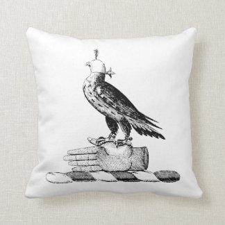 Preppy Heraldic Falcon w Helmet Coat of Arms Crest Throw Pillow