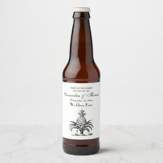 Preppy Heraldic Pineapple Coat of Arms Crest Beer Bottle Label