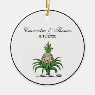 Preppy Heraldic Pineapple Coat of Arms Crest Ceramic Ornament