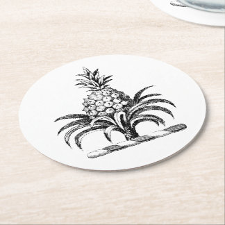 Preppy Heraldic Pineapple Coat of Arms Crest Round Paper Coaster