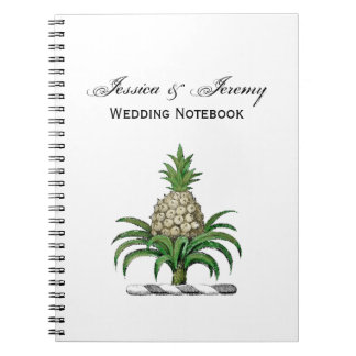 Preppy Heraldic Pineapple Coat of Arms Crest Spiral Notebooks