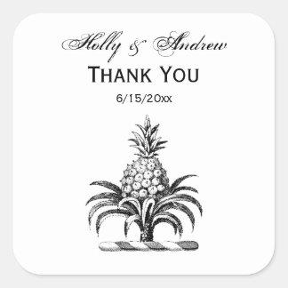 Preppy Heraldic Pineapple Coat of Arms Crest Square Sticker