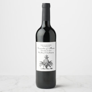 Preppy Heraldic Pineapple Coat of Arms Crest Wine Label