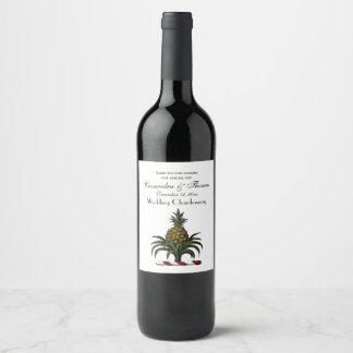 Preppy Heraldic Pineapple Crest Color RWT Wine Label