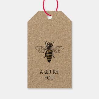 Preppy Heraldic Vintage Bee #2 Coat of Arms C Gift Tags