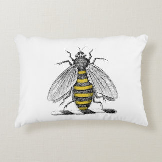 Preppy Heraldic Vintage Bee Coat of Arms Emblem C Accent Pillow