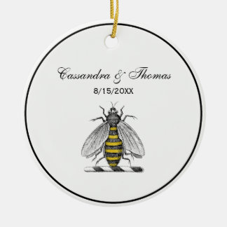 Preppy Heraldic Vintage Bee Coat of Arms Emblem C Ceramic Ornament