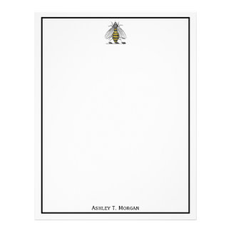 Preppy Heraldic Vintage Bee Coat of Arms Emblem C Letterhead