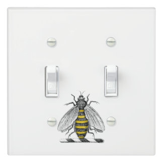 Preppy Heraldic Vintage Bee Coat of Arms Emblem C Light Switch Cover