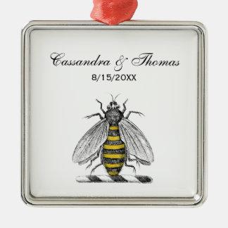 Preppy Heraldic Vintage Bee Coat of Arms Emblem C Metal Ornament