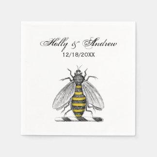 Preppy Heraldic Vintage Bee Coat of Arms Emblem C Paper Napkin