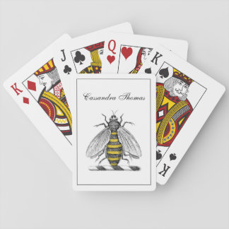 Preppy Heraldic Vintage Bee Coat of Arms Emblem C Playing Cards