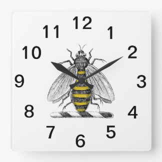 Preppy Heraldic Vintage Bee Coat of Arms Emblem C Square Wall Clock