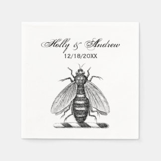 Preppy Heraldic Vintage Bee Coat of Arms Emblem Paper Napkin