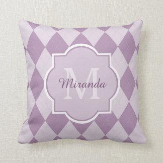 Preppy Light Purple Argyle Girly Monogram and Name Throw Pillows