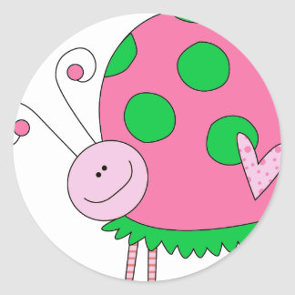Preppy Lil Pink and Green Ladybug Round Sticker