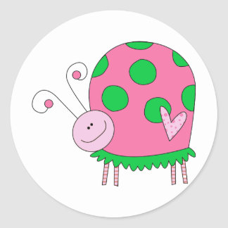 Preppy Lil Pink and Green Ladybug Round Stickers