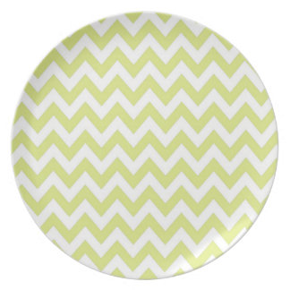 Preppy Lime and White Chevron Plate