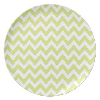 Preppy Lime and White Chevron Plate