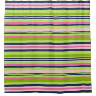 Preppy Lime Green, Pink and Navy Stripe