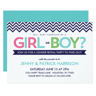 Preppy Modern Chevron Baby Gender Reveal Party Card