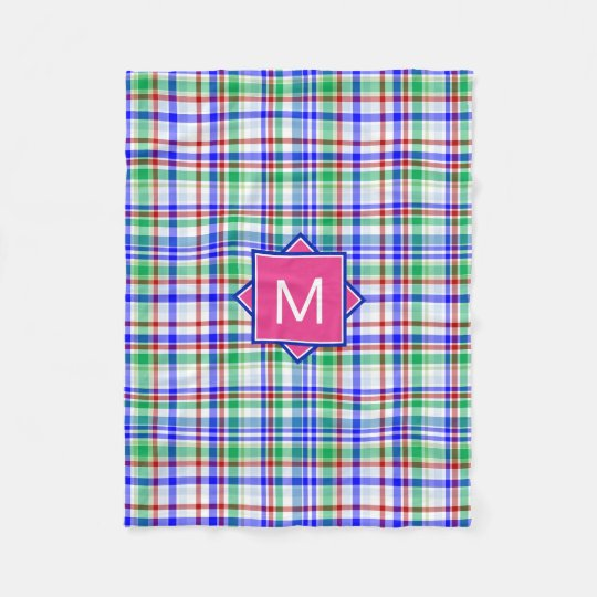 Preppy Monogram | Pink & Blue Plaid Fleece Blanket