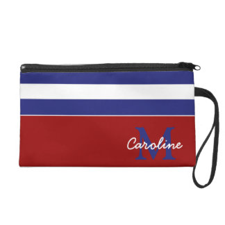 Preppy Nautical Blue and White Stripe Monogram Wristlet