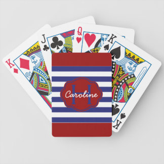 Preppy Nautical Blue and White Stripes Poker Deck