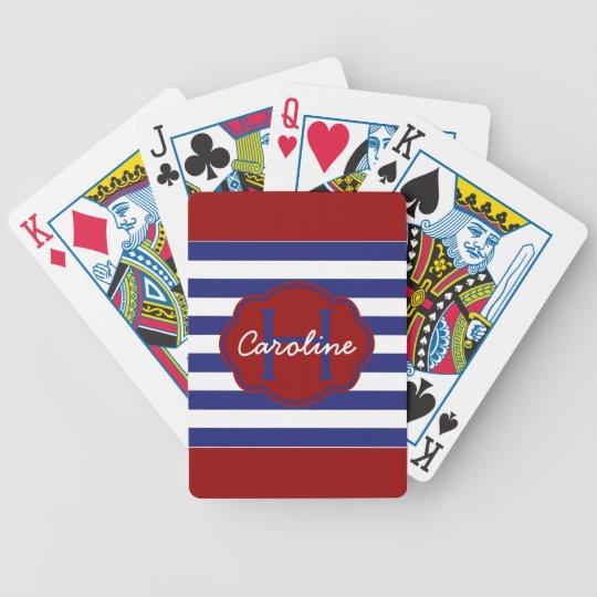 Preppy Nautical Blue and White Stripes Poker Deck
