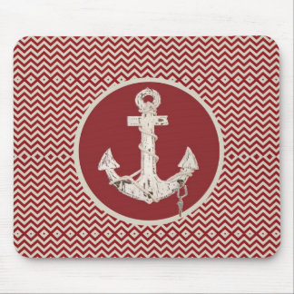 Preppy Nautical burgundy chevron beach anchor Mouse Pad