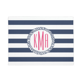 Preppy Nautical Navy & White Stripe Pink Monogram Doormat
