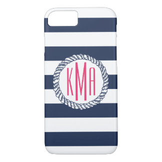 Preppy Nautical Navy & White Stripe Pink Monogram iPhone 8/7 Case