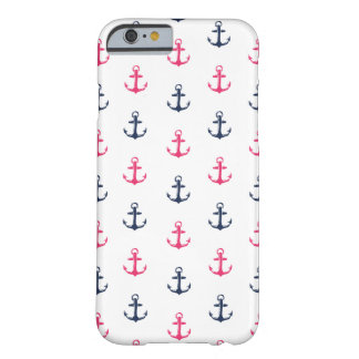 Preppy Nautical Pink & Navy Anchor Pattern Barely There iPhone 6 Case